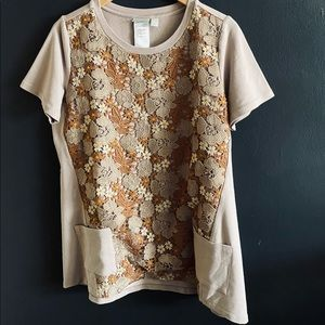 LOGO Lori Goldstein Floral Short Sleeve T-Shirt